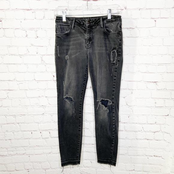 Zara Basic Black Distressed Raw Hem Skinny Jeans
